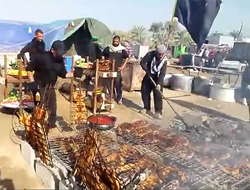 Serving Roasted fish to pilgrims in Arbaeen